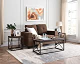 Kings Brand Furniture - Konos 3-Piece Coffee Table & 2 End Tables Occasional Set, Brown/Pewter