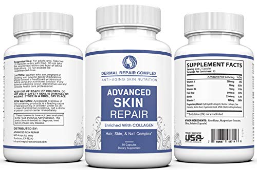 51wThDH2tqL - Dermal Repair Complex Skin Supplement - Advanced Collagen, Hyaluronic Acid and Vitamin C for Anti-Aging & Skin Health Support 60 Capsules