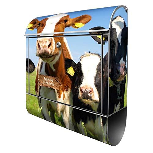Banjado Design Briefkasten personalisiert mit Motiv Kühe | Stahl pulverbeschichtet mit Zeitungsrolle | Größe 39x47x14cm, 2 Schlüssel, A4 Einwurf, inkl. Montagematerial