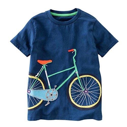 Kinder Jungen Fahrrad-T-Shirt Ostern Kurzarm Shirts Casual Tops Baumwolle Tee Alter 2 3 4 5 6 7 8 Jahre Gr. 5 Jahre, Dunkelblau Fahrrad