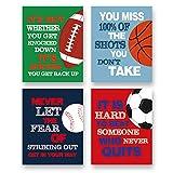 "Colorful Sport Inspirational Quote Art Print--Basketball Football Baseball Soccer Sport Motivotional Saying Canvas Wall Art--(8""X10""X4 pieces, Unframed)--Sport Themed for Boy Playroom Classroom Decoration"