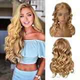 Ombre Loose Wave Human Hair Wigs with Baby Hair 12/613 Blonde Colored Lace Front Wigs 150% Density Pre Plucked Brazilian Virgin Human Hair 13x4 Glueless Bouncy Wavy Lace Wig for Black Women 14 Inch