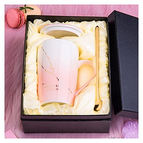 ZXCVB Tazas para Mujeres Cerámica Taza de café con Tapa de constelación Patrón Girly Style Pink 400ml con Cuchara y Caja de Regalo para café Té de Leche (Color : Taurus)