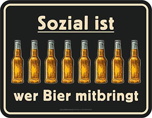 RAHMENLOS Deko Blechschild: Sozial ist, wer Bier mitbringt
