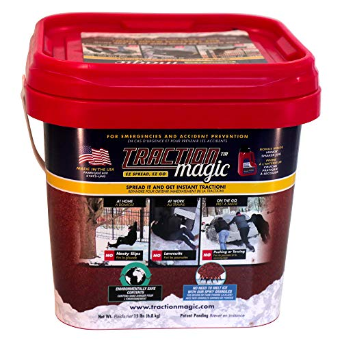 Traction Magic for Snow & Ice Instant grip, No Slip falls on Outdoor Sidewalk Walkway, Free Car Vehicle Driveway, Child Pet Dog paw safe, 100% Salt free -15lb