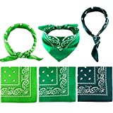 Blulu 6 Pieces Paisley Bandanas Assorted Cowboy Bandanas Unisex Novelty Print Head Wrap Scarf Wristband for Adults and Kids (Assorted Green)