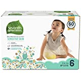 Seventh Generation Baby Diapers for Sensitive Skin, Animal Prints, Size 6, 60 Count
