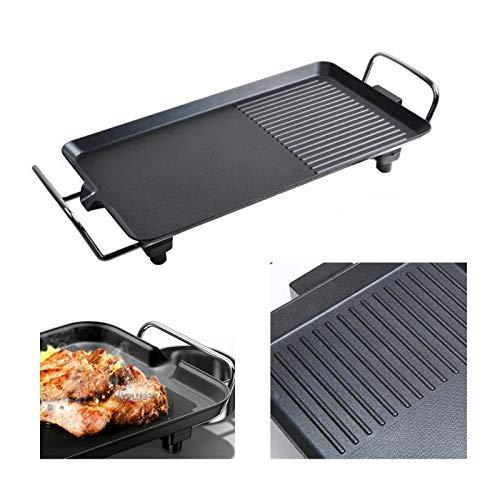 Elektrogrill 2 in 1 Teppanyaki Tischgrill elektrisch Antihaftende Grillplatte, Verstellbarer Temperaturregler 1500W Ideal als Geschenk & für die Party, 48x27x8cm Teppanyaki-Grill