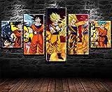 REWE Cuadros Modernos Baratos para Dormitorios Póster de la película Dragon Ball-A_200 × 100CM 5 ienzos no Tejidos Cuadro Pintando Impresión de la Pintura en Lienzo Decoración de Casa Regalo