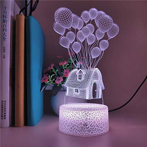 Lámpara de ilusión 3D Luz de noche Led Pixar Cartoon Up Figura de acción 7 colores Lámpara de mesa óptica táctil Decoración del hogar