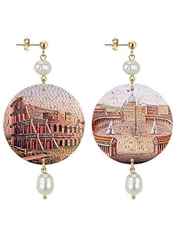 in Lebole Collezione The Circle DOR57 Roma Colosseo Orecchini da Donna in Ottone Pietra Perla