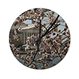 Decorative Wall Clock, Vintage Industrial Rustic Farmhouse Style Home Decor for Living Room, Cherry Blossoms in Washington Dc PVC Clocks, 10 Inch Round