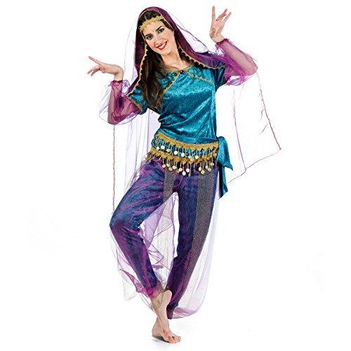 Bollywood Indische Tänzerin Kostüm Damen 4-tlg. lila türkis - M by Elbenwald