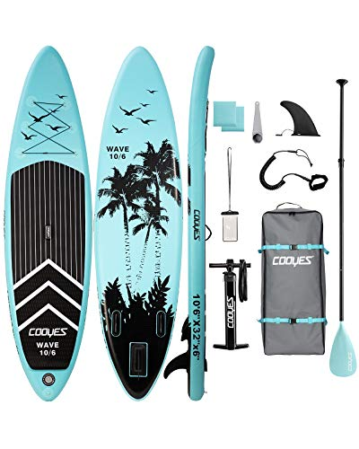 Cooyes Inflatable Stand Up Paddle Board 10.6 ft with Premium SUP Accessories and Backpack, Non Slip Deck, Waterproof Bag, Leash, Paddle and Hand Pump for Paddling and Surf Control