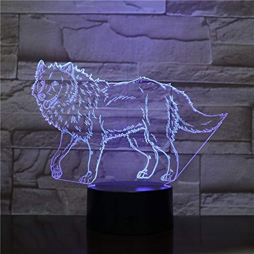 Luz noche acrílico 3D3 Wild Wolf Animal LED control
