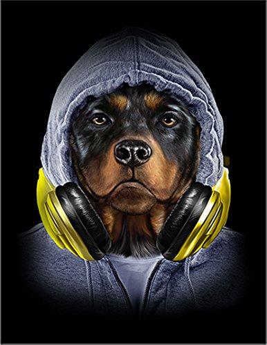 【ロットワイヤー ヒップホップ ラッパー いぬ 犬】 余白部分にオリジナルメッセージお入れします!ポストカード・はがき(黒背景)