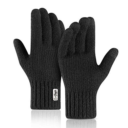 Winterhandschuhe Winter Touchscreen-Handschuhe Für Männer Winddichte Warme Alpaka-Handschuhe Im Freien Hautfreundliche, Weiche, Elastische, Dick Gestrickte Herrenhandschuhe XL Kostenlose