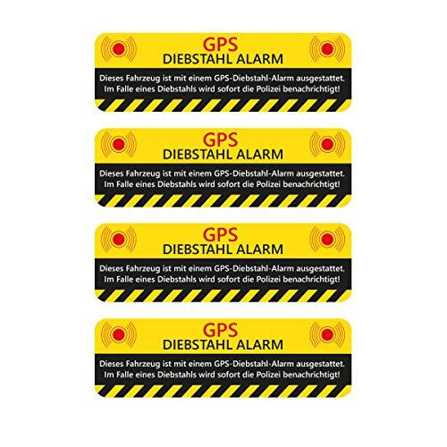 WANDKINGS Aufkleber GPS DIEBSTAHL Alarm Warnaufkleber für Ihr Fahrzeug - 4 Stück