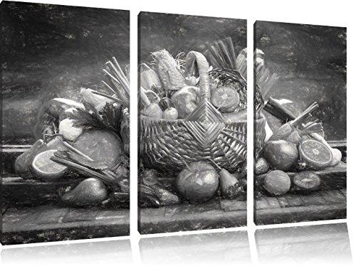 Pixxprint Obst und Gemüse im Korb ALS Leinwandbild/Größe: 3 Teilig (120x80 cm) cm/Wandbild/Kunstdruck/fertig bespannt