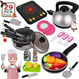 Kids Kitchen Pretend Play Set  29Pcs Kitchen Toys Including Induction Cooker with Light Sound, Apron&Chef Hat, Cookware Utensils, Cutting Food Playset Accessories for Toddlers Girls Boy Birthday Gift
