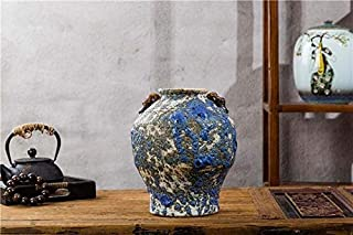A+Ceramic vase Binaural Pottery Bubble Glaze Crafts American Country Atmosphere Tabletop Decoration Rustic Home Decoration