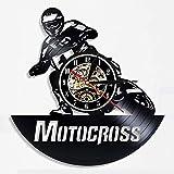 wtnhz LED-Reloj de Pared con Disco de Vinilo de Motocross, Reloj de Pared Decorativo 3D de Carreras de Motos de diseño Moderno, Reloj de Pared de Vinilo, decoración del hogar