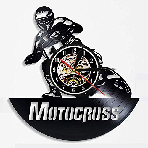 wtnhz LED-Motocross Vinyl Record Wall Clock Modern Design Motorcycle Racing 3D Decorative Wall Watch Vinyl Wall Clock Home Decoration