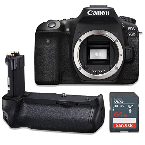 Canon EOS 90D Wi-Fi 4K UHD Digital SLR Camera Body Kit with Power Battery Grip