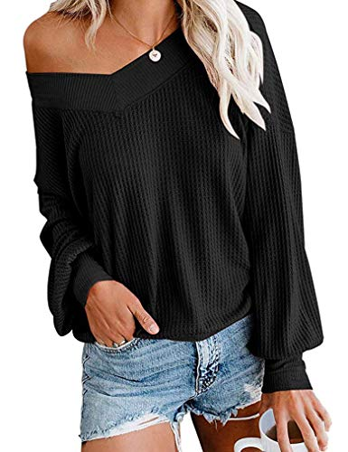 Tobrief Womens Pullover Thermal Waffle Knit Tops Drop Shoulder Long Billowed Sleeves Loose Shirts Black,M