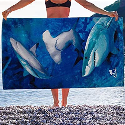 Jay Franco & Sons Shark Beach Towel 30 X 60 Inch Large Beach Towel Cotton Hammerhead Shark Great White Shark Beach Towel