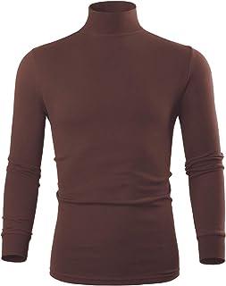 Turtleneck Men Long Sleeve Thermal Underwear Sweater Mock Turtleneck Base Layer Shirt for Men, Black White
