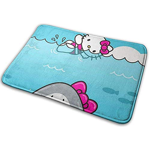 Liumt Alfombrilla de Bienvenida Antideslizante Hello Kitty and Shark Alfombra de Entrada Interior para Exteriores Alfombrillas Raspador de Zapatos 40cm x 60cm