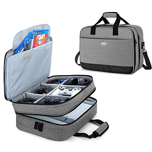 CURMIO Travel Carrying Case Compatible with PS4/PS4 PRO/XBOX 360/XBOX ONE/XBOX SERIES S Game Console and Accessories, Portable Storage Bag for Game Console, Controller, Headset,Grey