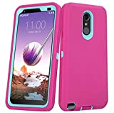 Annymall LG Stylo 3 Plus Case, Heavy Duty Shockproof Full-Body Protective Hybrid Case with Built-in Screen Protector for LG Stylo 3 / LG Stylo 3 Plus (Pink)