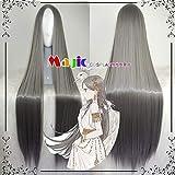 Cosplay Peluca Abrigo de plumas Canción Pavo real blanco Gris oscuro Punto medio Hermana suave Mujer Lolita 2
