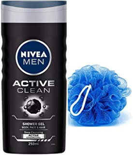 NIVEA Men Active Clean Shower Gel, 250ml With Free Loofah