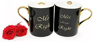 Coffee Mugs Set Gold Bone China Mr Right and Mrs Always Right Black Glossy Vintage with Gift Box