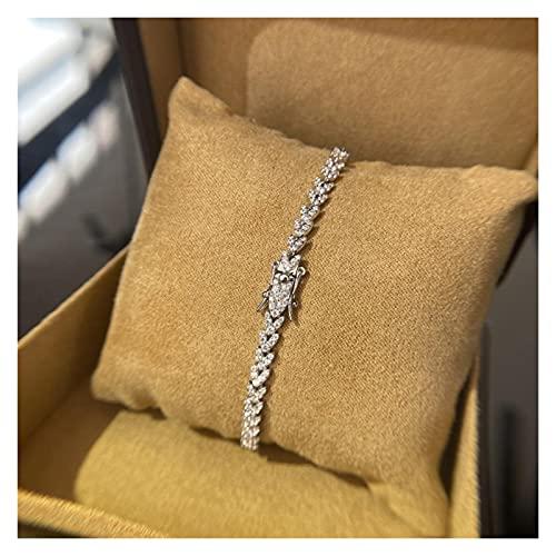 LIYDENG Pulsera de Brazalete de Diamante Real 925 Pulseras de la Boda de Plata de Ley para Mujeres Joyería de la Fiesta de Tenis Nupciales 18 cm Pulsera (Color : 18cm)