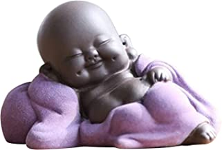 Flameer Little Ceramic Baby Monk Maitreya Happy Buddha Statue Figurine Feng Shui Ornament Arts and Crafts - E