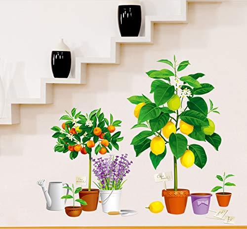 zwyluck Simulatie vaas potplant lavendel citroen wandplaat ingang hal wandsticker 3D wandsticker decoratie voor thuis 97 * 83cm