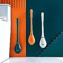 Qjkmgd Siliconen waterdruppel toiletborstel en houder set, buigbare toiletborstel met houder, automatisch openen en sluite...