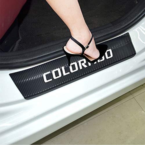 JEYODA Door Entry Guard Carbon Fiber Car Door Sills Sticker Car Scuff Welcome Plate Stickers Vinyl Sticker for Chevrolet Colorado (white)