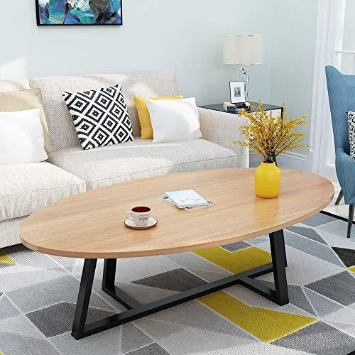 ZSIF salontafel, houten aanrechtblad stalen frame, huishoudelijke 1M lange kleine koffietafel, woonkamer, bijzettafel, creatieve ronde tafel, leestafel, eettafel, vergadertafel, 10 stijlen