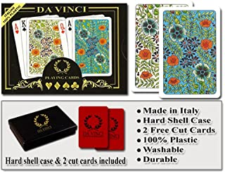 Da Vinci Fiori, Italian 100% Plastic Playing Cards, 2 Deck Set with Hard Shell Case and 2 Cut Cards; Choose from Poker Size Jumbo Index or Bridge Size Regular Index
