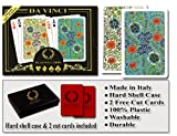 DA VINCI Fiori, Italian 100% Plastic Playing Cards, 2-Deck Bridge Size Small Print Regular Index Set