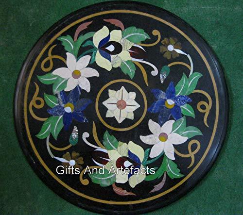 45,7 x 45,7 cm, diseño de mosaico, mesa redonda de mármol negro para decoración del hogar