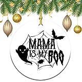 Adornos colgantes de Navidad de 7,62 cm, Mama Is My Boo, ornamento redondo de cerámica y cinta para adornos de árbol de Navidad para colgar accesorios