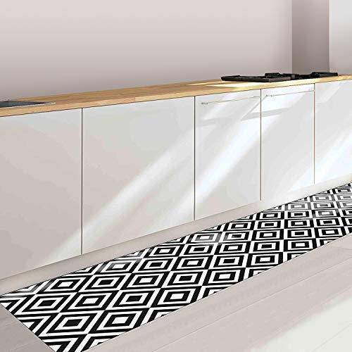CREARREDA Tappeto cucina Black & White 50x120 passatoia cucina antiscivolo, lavabile, ignifugo e antigraffio 100% Made in Italy