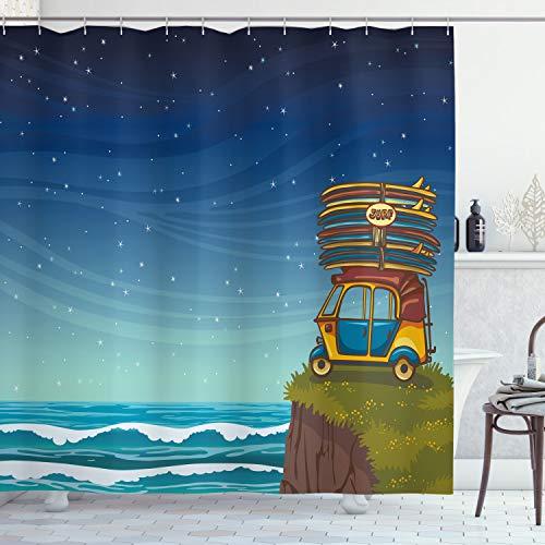 ABAKUHAUS Oceano Cortina de Baño, Las Tablas de Surf de Dibujos Animados de Coches, Material Resistente al Agua Durable Estampa Digital, 175 x 200 cm, Multicolor