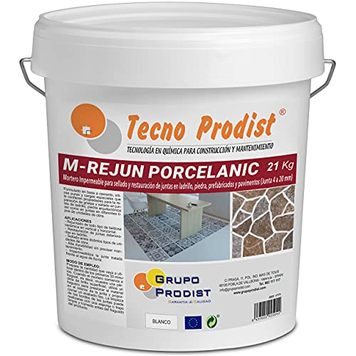 M-REJUN PORCELANIC de Tecno Prodist - (21 kg) Mortero impermeable para el sellado y restauración en pavimentos cerámicos, ladrillos, piedra, etc (Junta de 4 a 20mm) Color Blanco